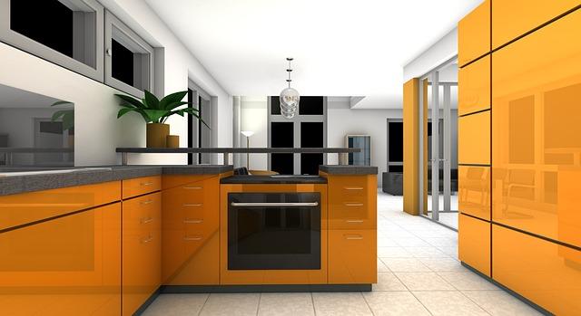 netradiční žlutá kuchyň