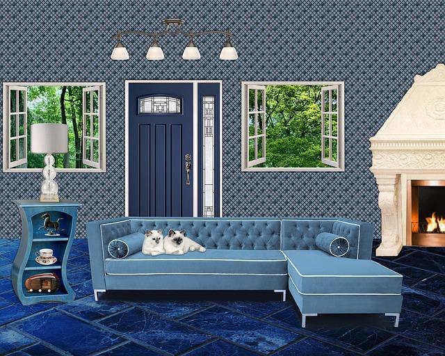 modrý obývací pokoj